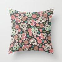 sugar skulls Throw Pillows featuring Sugar Skulls by Bohemian Gypsy Jane