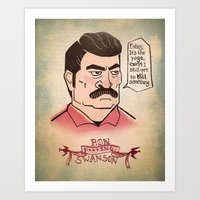 ron swanson Art Prints featuring Ron Swanson by Monica McClain