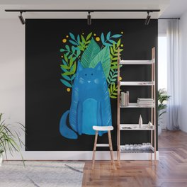 Cat and foliage - blue, green and black background Wall Mural