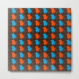 Orange Blue Buffalo Spirit Metal Print