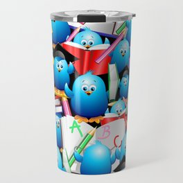 Back to School Cute Blue Birds Travel Mug