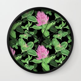 Pink clover on black background Wall Clock