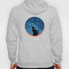 Abstraction_CAT_NIGHT_SKY_STARS_Minimalism_001 Hoody