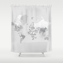 "Gray highly detailed world map with cities, square, ""Cristina"" Shower Curtain"