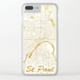 St Paul Map Gold Clear iPhone Case