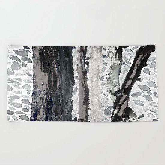 Rainbow Eucalyptus Graffiti artist tree from shedding bark South Pacific Black and White Night Beach Towel