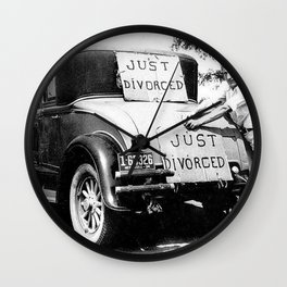 Just Divorced - Just Married Car Box Posters black and white humorous photograph Wall Clock