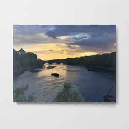 Sunset Sailing on the Loire Metal Print