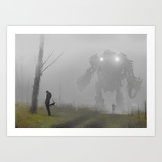 mech in the mist Art Print