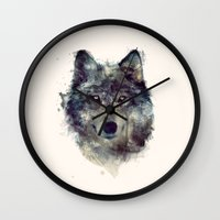 face Wall Clocks featuring Wolf // Persevere  by Amy Hamilton