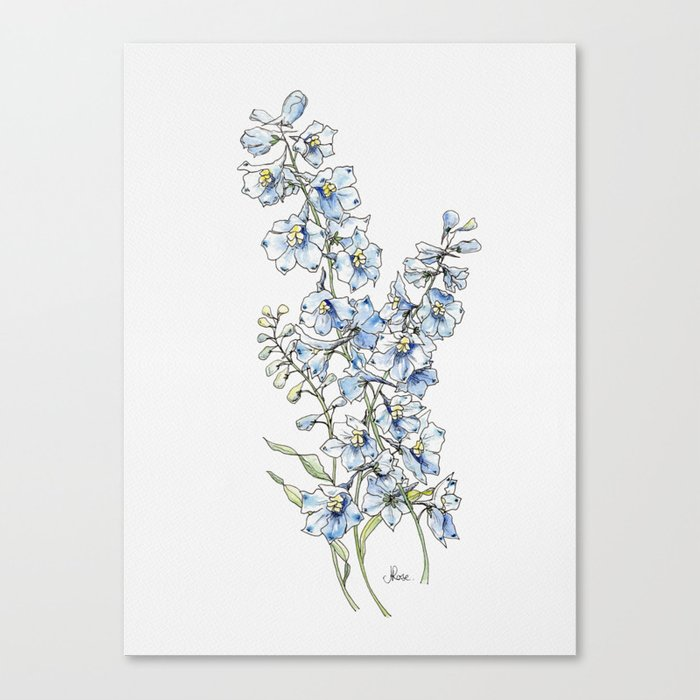 Blue Delphinium Flowers Leinwanddruck