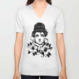 WOMAN and Roses - TATTOO Unisex V-Neck