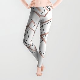 Rose Gold White Linear Triangle Abstract Pattern Leggings