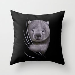 Wombat Animal Coming From Inside Throw Pillow