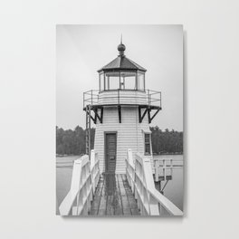 Doubling Point Lighthouse Bath Maine Kennebec River Light New England Nautical Black and White Metal Print