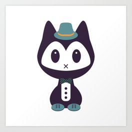 Cute kitten in formal clothes Art Print