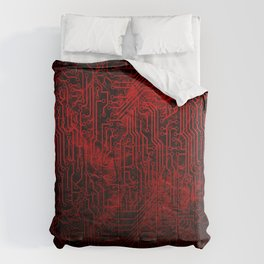 Red Cybernetic Circuit Board Crackle Grunge Texture Comforters