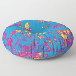 Blue Butterflies & Flowers Floor Pillow
