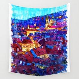 Prague by Night - Czech Republic Wall Tapestry