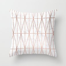 Modern geometric triangles faux rose gold pattern on white marble Throw Pillow