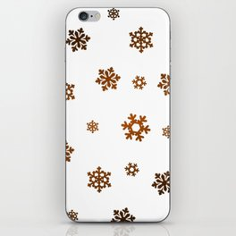 Snowflakes (Bronze and Black on White) iPhone Skin