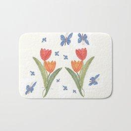 Tulipes et papillon en dentelle Bath Mat