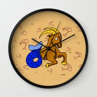 capricorn Wall Clocks featuring Capricorn by Giuseppe Lentini