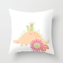 Purr-historic - Peach & Lime - v4 Throw Pillow