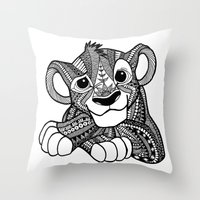 simba Throw Pillows featuring Zentangle Simba by ElFineLines