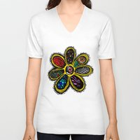 hippy V-neck T-shirts featuring Patchwork Hippy Flower by Silvio Ledbetter