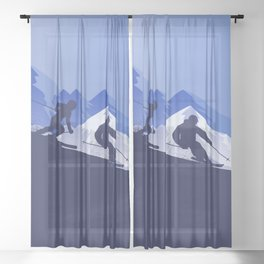 Skiing Winter Sport on Demand Sale Design 2 Sheer Curtain