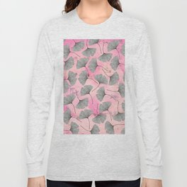 botanical biloba drawing pattern on pink watercolor marble Long Sleeve T-shirt