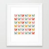 cartoons Framed Art Prints featuring Cute color cats kitten cartoons by Maju Fernandez