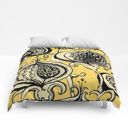 Black and Yellow Floral Comforters