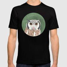 Long Eared Owl Black MEDIUM Mens Fitted Tee