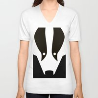 badger V-neck T-shirts featuring Badger by Christian Bailey