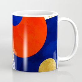Terrazzo galaxy blue night yellow gold orange Coffee Mug