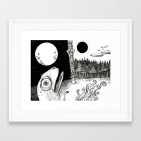 sun and moon Framed Art Prints featuring Moon/Sun by C.M. Duffy