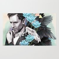 tom hiddleston Area & Throw Rugs featuring Tom Hiddleston by Yan Ramirez