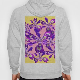 Abstract Purple Dutch Iris Floral Garden Yellow-Pink Hoody