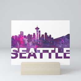 Seattle Washington Skyline Silhouette Strong with Text Mini Art Print