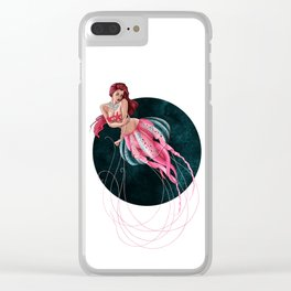 Mauve Stinger Jellyfish Clear iPhone Case