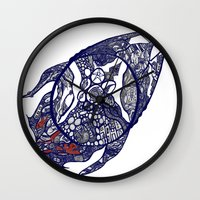 greg guillemin Wall Clocks featuring Abstract 2 by Greg Phillips by SquirrelSix
