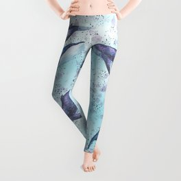 Big space whales light blue pattern Leggings