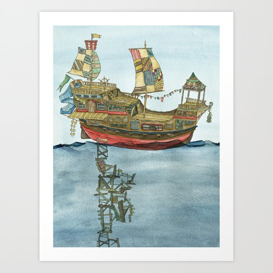 Pirate Ship Print Art Print
