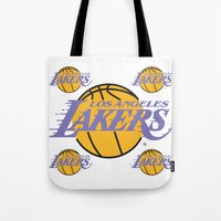 lakers Tote Bags featuring Lakers by Dexter Gornez