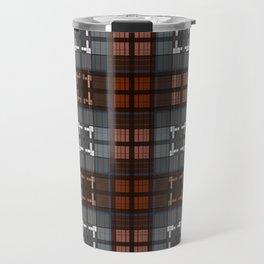 Dark black and blue plaid checkered Scandinavian design Travel Mug