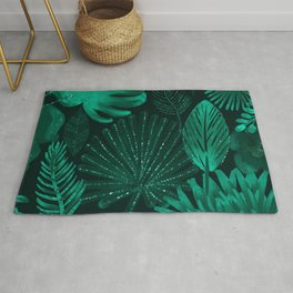 Emerald botanical - tropical ferns and palms Rug