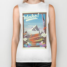 Idaho! landscape travel poster Biker Tank