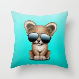 Cute Baby Lion Wearing Sunglasses Throw Pillow